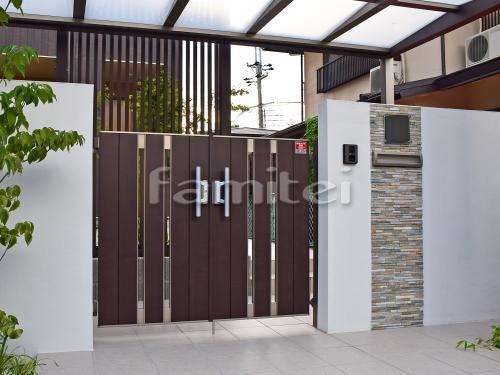 門袖 塗り壁 壁タイル貼り 玄関門扉 LIXILリクシル ジオーナSA型 07-12 両開き TOEXトエックス