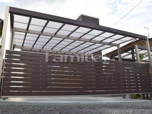 ガレージまわり 木製調アーチフレーム LIXILリクシル プラスG カーポート ネスカF 横2台用(ワイド ツイン) F型フラット屋根