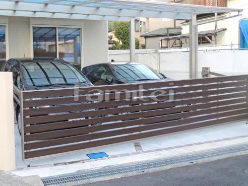 木製調電動跳ね上げ式門扉 LIXILリクシル ワイドオーバードアS5型 横2台用 アップゲート TOEXトエックス