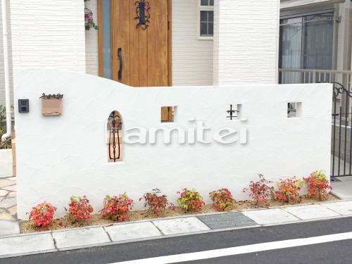 門袖 塗り壁 エスケー化研 ベルアート塗装 AC-1035 下草 低木 植栽