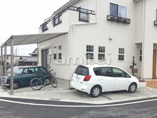 ガレージまわり 駐車場床 土間コンクリート 草目地 タマリュウ
