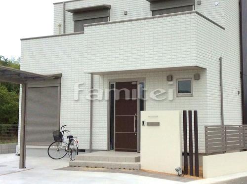 玄関まわり 門柱 塗り壁 木製調デザインアルミ角柱 プランパーツ 角材 アプローチ 床タイル貼り LIXILリクシル グレイスランド300角