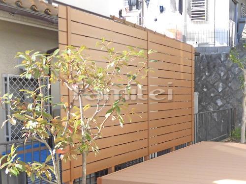 目隠し人工木製フェンス塀 エクスタイル アーバンフェンス ライトブラウン 樹脂 板塀