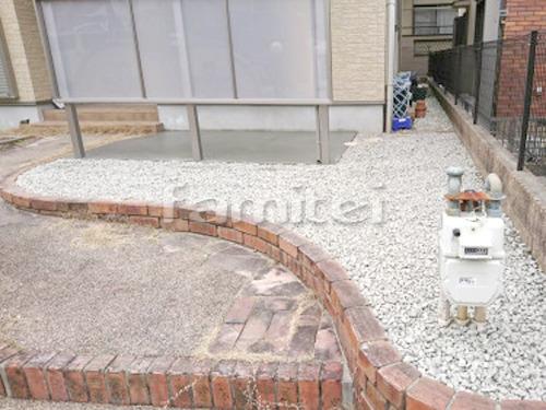 お庭 防犯砂利敷き バラス砕石 防草シート加工