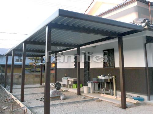 積雪カーポート YKKAP レオンポートneo 積雪50cm対応 折板屋根 縦2台用(縦連棟) F型フラット屋根