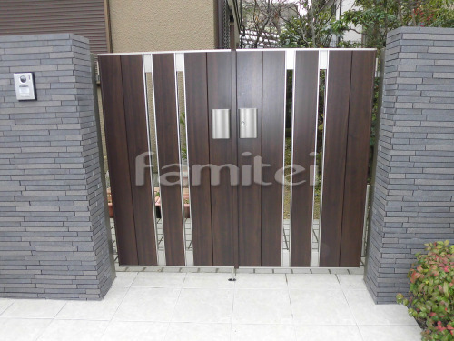 玄関門扉 LIXILリクシル 木製調ジオーナSA型 12-07 両開き