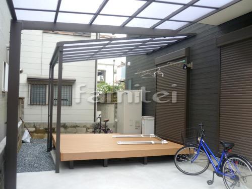 雨除け屋根 LIXILリクシル スピーネ 1階用 F型フラット屋根 人工木材ウッドデッキ 樹ら楽ステージ(きらら) 樹脂