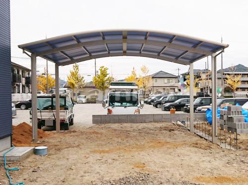 カーポート YKKAP レイナポートグラン 横2台用(ワイド ツイン) R型アール屋根