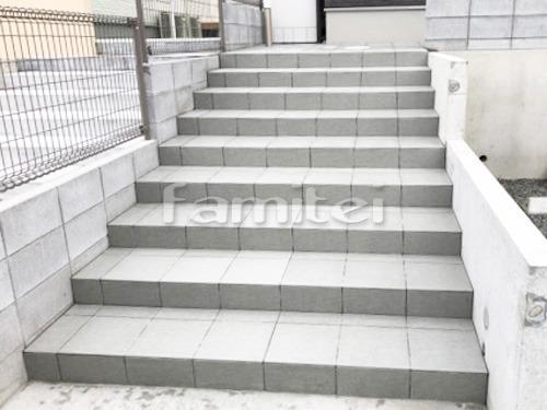 玄関アプローチ階段 タイルデッキ LIXILグレイスランド300角