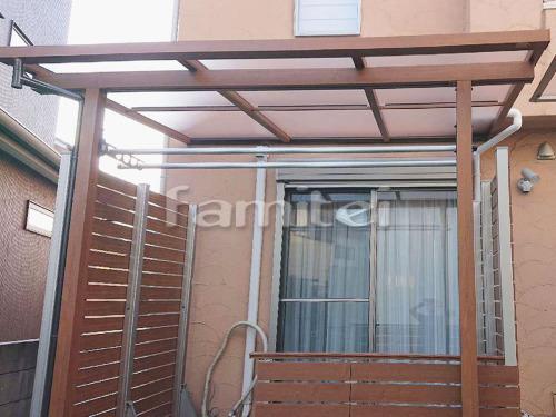 フル木製調テラス屋根 YKKAP サザンテラス フレームタイプ 1階用 F型フラット屋根 水平式物干し