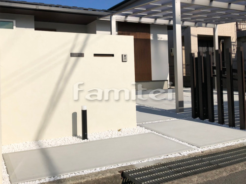 玄関前アプローチ 土間コンクリート 化粧砂利 白仙