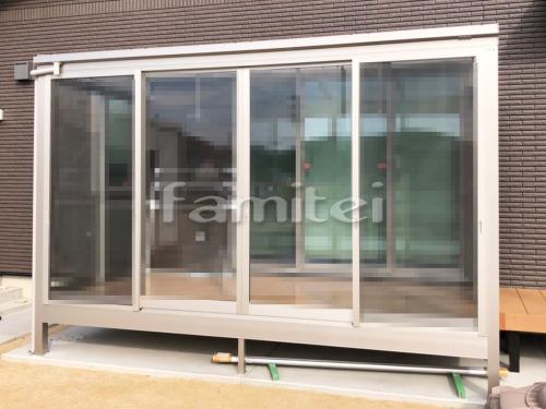 ガーデンルーム YKKAP ソラリア サンルーム F型フラット屋根 テラス囲い 網戸(正面 両側) 竿掛け
