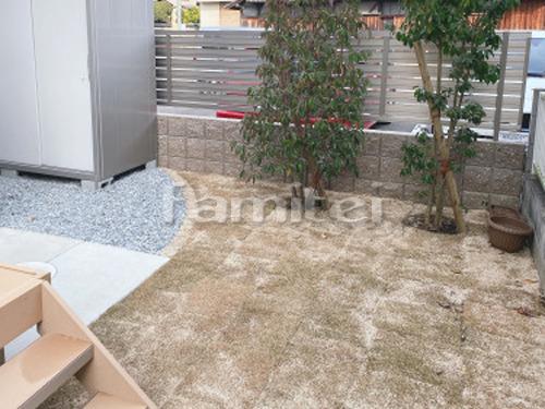 見切り材 ピンコロ石 防草シート加工 天然芝生張り
