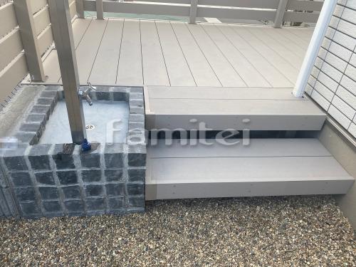 階段ステップ 段床セット 立水栓 ユニソン スプレスタンド 蛇口2個 ピンコロ囲い モルタル仕上げ洗い場