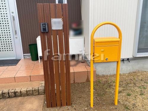 門柱 木製調デザインアルミ角柱 プランパーツ 角材 郵便受けポスト YKKAP ポスティモ1Bセット 前入れ前出し 既存門柱撤去