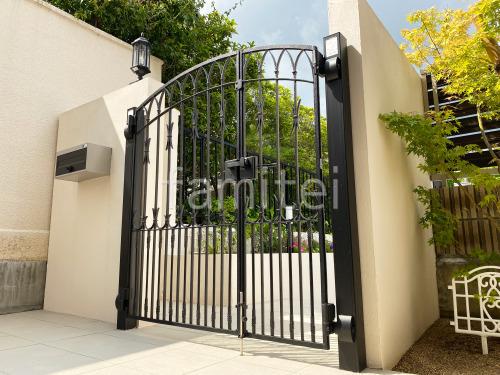門袖 塗り壁 アイカ工業 ジョリパット塗装 LED門柱灯