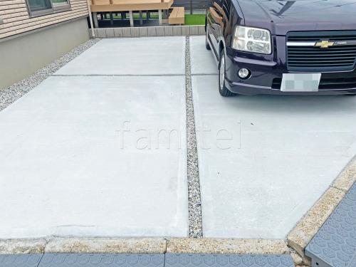 駐車場ガレージ床 土間コンクリート バラス砕石目地