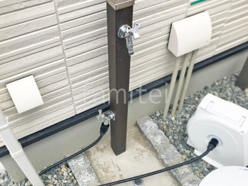 立水栓 ユニソン スプレスタンド60 ピンコロ囲い水受け(パン) 土間モルタル仕上げ 洗い場