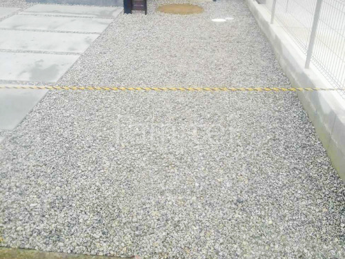 防犯砂利敷き バラス砕石 防草シート加工