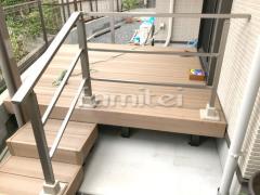 施工例画像:人工木材ウッドデッキ LIXILリクシル 木彫 樹ら楽ステージ(きらら) 樹脂 階段ステップ 手摺り(手すり) アーキレール
