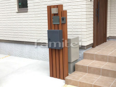 施工例画像:門柱 木製調デザインアルミ角柱 プランパーツ 角材