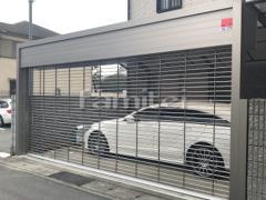 施工例画像:電動車庫シャッターゲート LIXILリクシル ワイドシャッターS Fタイプ ステンレスパイプ 横2台用 既存ゲート撤去