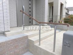 施工例画像:玄関ポーチ手摺り(手すり) 四国化成 セイフティビームSJ型