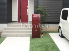 施工例画像:機能門柱 三協アルミ ステイム AJタイプ シンボルツリー シマトネリコ 常緑樹 植栽 人工芝