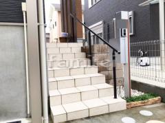 施工例画像:玄関アプローチ階段手摺り(手すり) YKKAP パルトナーUD1型