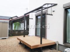 施工例画像:雨除け屋根 LIXILリクシル スピーネ 1階用 積雪50cm対応 R型アール屋根 物干し 人工木材ウッドデッキ 樹ら楽ステージ(きらら) 樹脂