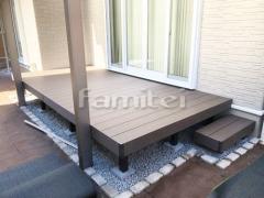 施工例画像:人工木ウッドデッキ LIXILリクシル 樹ら楽ステージ(きらら) 樹脂 階段ステップ1段