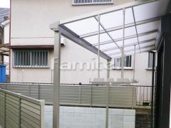 施工例画像: 雨除け屋根 LIXILリクシル スピーネ 1階用 F型フラット屋根 物干し