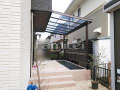 施工例画像:フル木製調テラス屋根 LIXILリクシル シュエット 1階用 F型フラット屋根 物干し