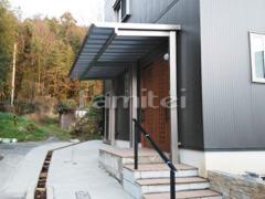 施工例画像:雨除け屋根 四国化成 パーゴテラス 連棟 F型フラット屋根 後柱仕様