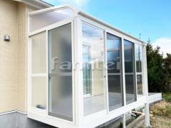 施工例画像:ガーデンルーム YKKAP ソラリア サンルーム R型アール屋根 物干し網戸(正面 両側面)