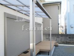 施工例画像:雨除け屋根 LIXILリクシル スピーネ 1階用 F型フラット屋根 物干し人工木材ウッドデッキ 樹ら楽ステージ(きらら) 樹脂