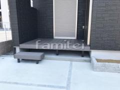 施工例画像:人工木材ウッドデッキ LIXILリクシル 樹ら楽ステージ(きらら) 樹脂 階段ステップ1段