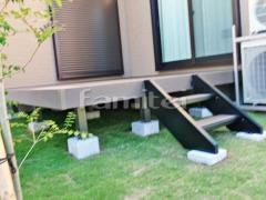 施工例画像:人工木材ウッドデッキ LIXILリクシル 樹ら楽ステージ(きらら) 樹脂 階段ステップ2段