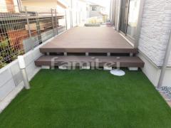 施工例画像:人工木ウッドデッキ YKKAP リウッドデッキ200 お庭 人工芝 防草シート加工