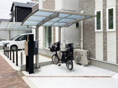 施工例画像:自転車バイク屋根 プライスポートミニ 駐輪場屋根 サイクルポート R型アール屋根