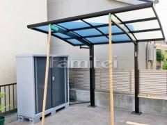 施工例画像:自転車バイク屋根 YKKAP レイナポートグランミニ 駐輪場屋根 サイクルポート R型アール屋根 イナバ物置 シンプリー MJX-156D 野外物置き 収納庫 倉庫