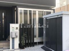 施工例画像:ガーデンルーム YKKAP 目隠し木製調 ソラリア サンルーム F型フラット屋根  網戸(正面 両側面) 物干し