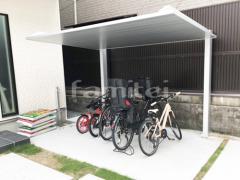 施工例画像:自転車バイク屋根 LIXILリクシル カーポートSC サイクルポート F型フラット屋根
