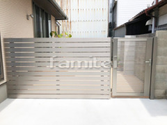 施工例画像:目隠しフェンス塀 LIXILリクシル デザイナーズパーツ 平板 お庭の門扉 AB YR1型 09-14片開き