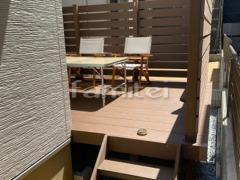 施工例画像:人工木ウッドデッキ YKKAP リウッドデッキ200 階段ステップ3段