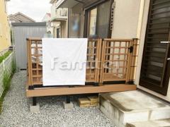 施工例画像:人工木ウッドデッキ 三協アルミ ひとと木 ハイパーテーション T10 桝格子
