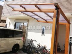 施工例画像:フル木製調自転車バイク屋根 TAKASHOタカショー アートポート 駐輪場屋根 サイクルポート F型フラット屋根