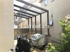 施工例画像:木製調ガーデンルーム LIXILリクシル ココマ オープンテラス腰壁タイプ 壁タイル LIXILリクシル  セラヴィオS HAL-25B CSS-2