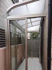 施工例画像:ガーデンルーム レギュラーサンルーム R型アール屋根 網戸(両面 正面) 物干し