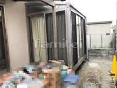 施工例画像:ガーデンルーム YKKAP ソラリア サンルーム F型フラット屋根 物干し 網戸(正面 両側面) カーテンレール